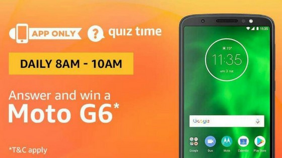 Amazon Moto G6 Quiz Answer (31 July)