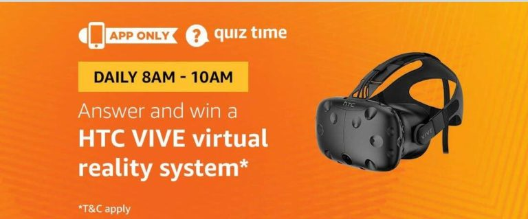 Amazon HTC VIVE virtual reality system Quiz Answer (21 July)