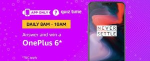 Amazon OnePlus 6 Quiz Answer
