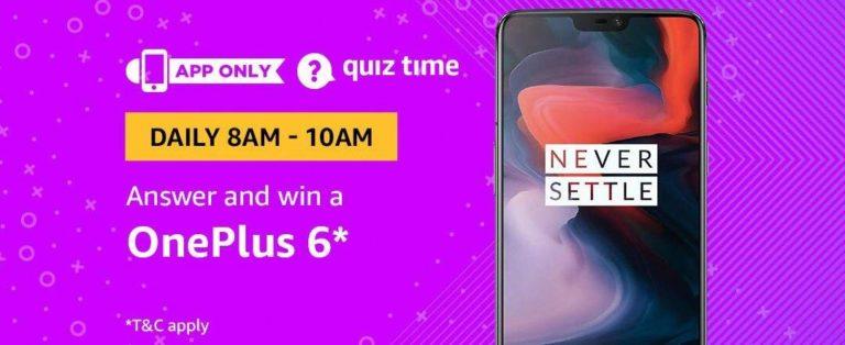 Amazon OnePlus 6 Quiz Answer