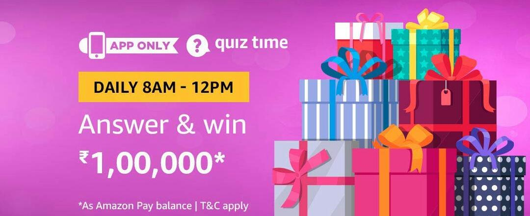 Amazon Quiz Time Answer & win 100000