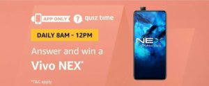 Amazon Vivo NEX Quiz Answer 20 August