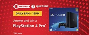 Amazon PlayStation 4 Pro Quiz Answer (02 August)