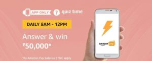 Amazon Quiz Time Answer & win 50000 (06 August)