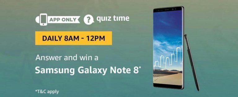 Amazon Samsung Galaxy Note 8 Quiz Answer (8 August)