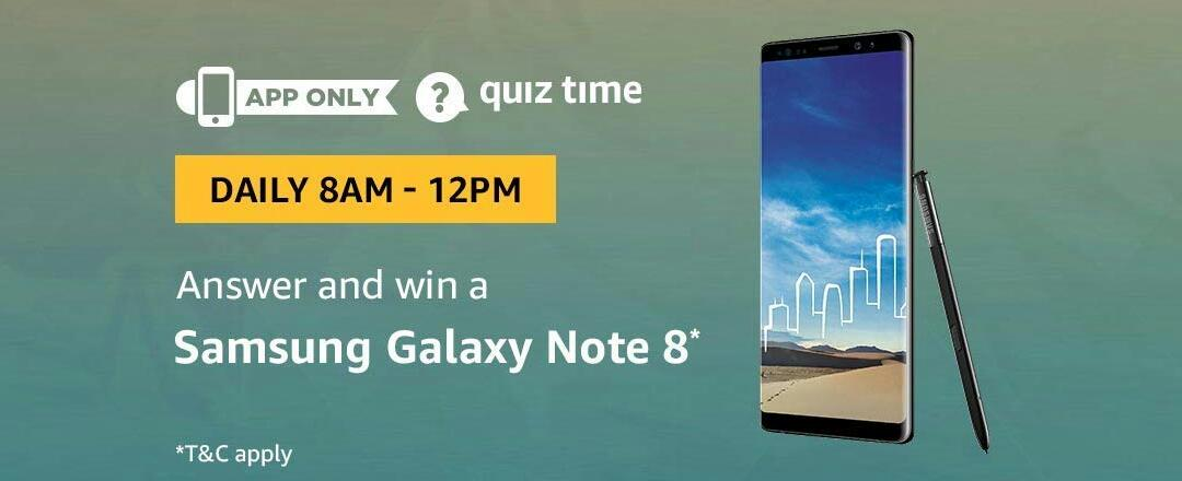 Amazon Samsung Galaxy Note 8 Quiz Answer (8 August)