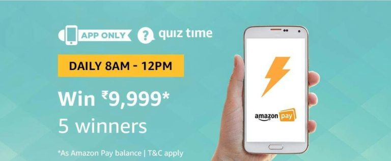 Amazon Quiz Time Answer Win 9999 (13 August)
