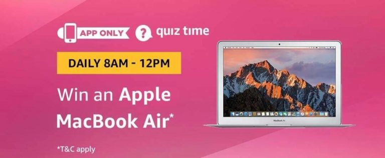 Amazon Apple Macbook Air Quiz Answer 22 December