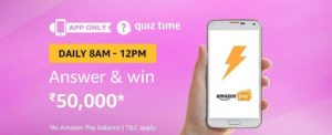 Amazon Quiz Time Answer & Win 50000 (16 August)
