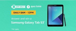 Amazon Samsung Galaxy Tab S3 Quiz Answer (17 August)