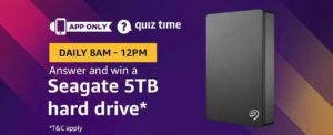 Amazon Seagate 5TB hard drive Quiz Answer 28 February