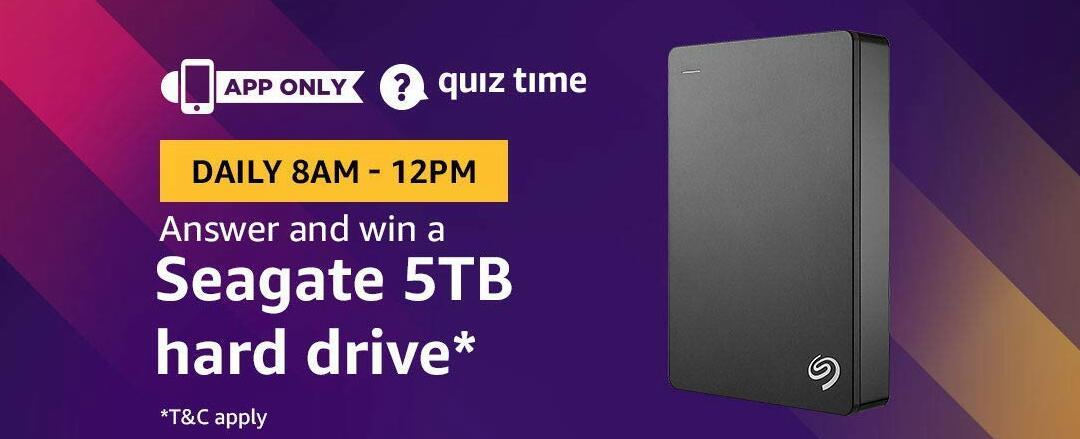 Amazon Seagate 5TB hard drive Quiz Answer 12 February