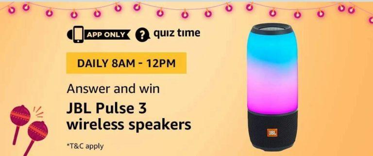 Amazon JBL Pulse 3 Wireless Speakers Quiz Answer 29 September