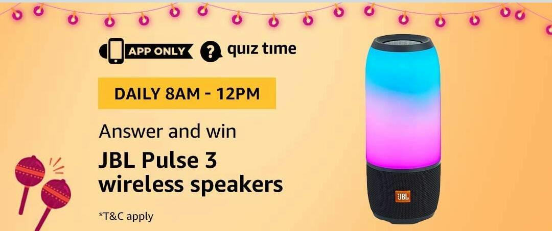 Amazon JBL Pulse 3 Wireless Speakers Quiz Answer 29 September