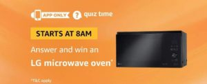 Amazon LG Microwave Oven Quiz Answer 18 September