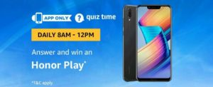 Amazon Honor Play Quiz Answer 15 September