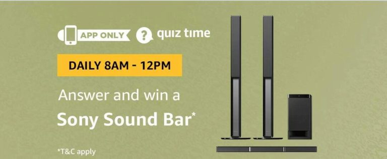 Amazon Sony Sound Bar Quiz Answer 8 September