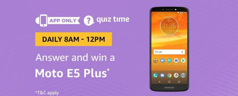 Amazon Moto E5 Quiz Answer 5 September