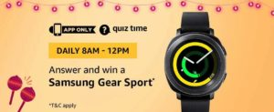 Amazon Samsung Gear Sport Quiz Answer 6 October