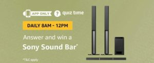 Amazon Sony Sound Bar Quiz Answer 30 October
