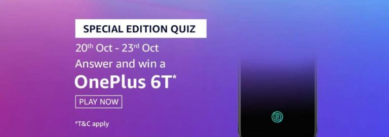 Amazon Oneplus 6T Quiz Answer 31 October