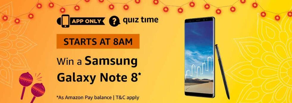 Amazon Samsung Galaxy Note 8 Quiz Answer 22 October