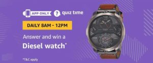 Amazon Diesel Watch Quiz Answer 8 November