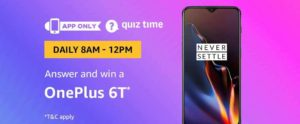 Amazon Oneplus 6T Quiz Answer 27 March