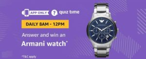 Amazon Armani Watch Quiz Answer 28 December