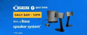 Amazon Bose Speaker Quiz Answer 1 January