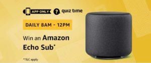 Amazon Echo Sub Quiz Answer 14 December