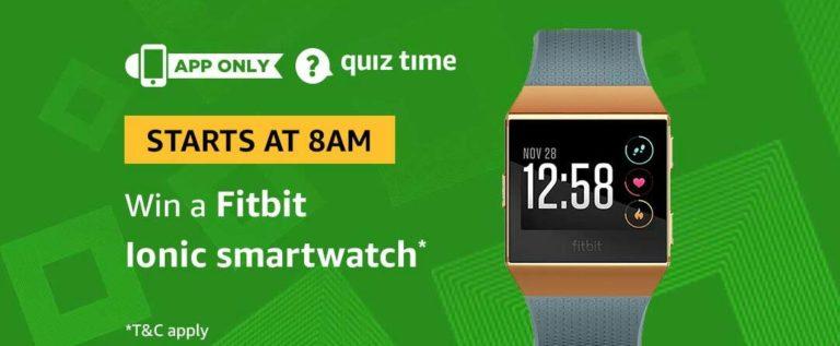 Amazon Fitbit Ionic Quiz Answer 2 April