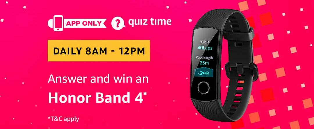 Amazon Honor Band 4 Quiz Answer 19 March