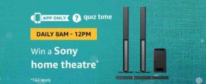 Amazon Sony Home Theatre Quiz Answer 31 January