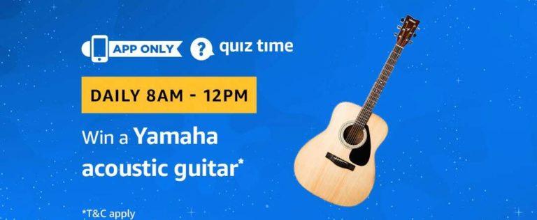 Amazon Yamaha acoustic guitar Quiz Answer 12 January