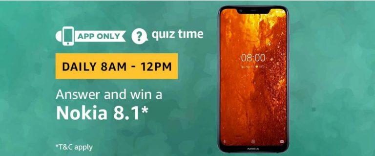 Amazon Nokia 8.1 Quiz Answer 13 February