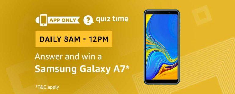 Amazon Samsung Galaxy A7 Quiz Answer 3 March