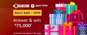 Amazon Quiz Time Answer 15 March