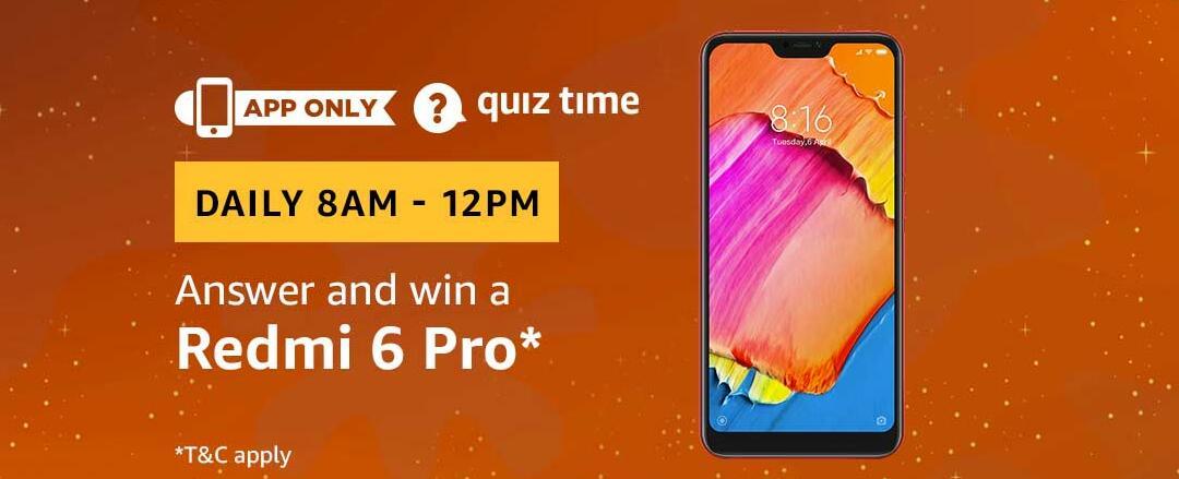 Amazon Redmi 6 Pro Quiz Answer 22 February