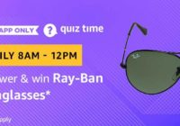 Amazon Ray Ban Sunglasses Quiz Answer 9 March