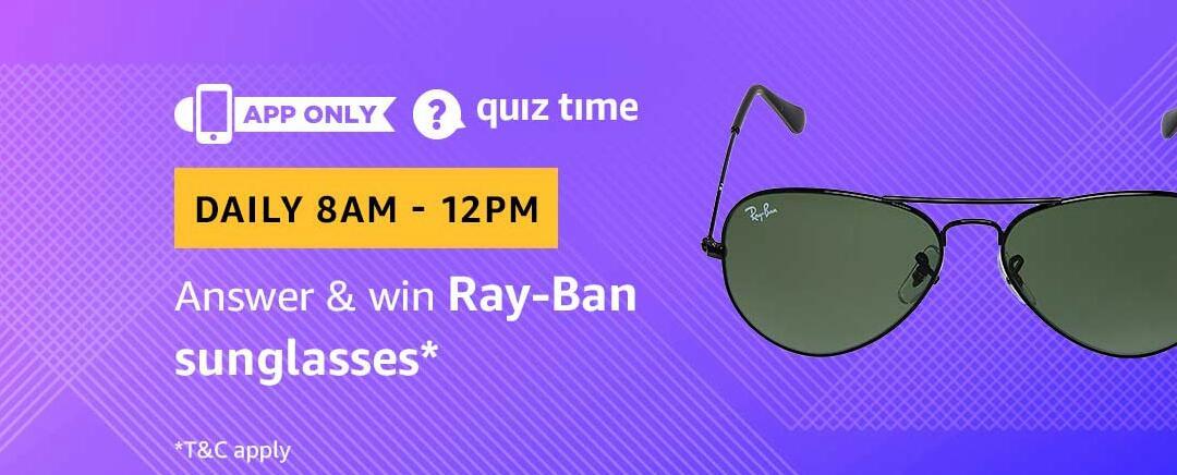 Amazon Ray Ban Sunglasses Quiz Answer 9 March