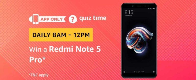 Amazon Redmi Note 5 Pro Quiz Answer 6 March